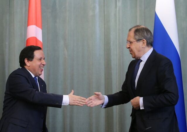 Meeting of Russian Foreign Minister Sergei Lavrov and Tunisian Foreign Minister Khemaies Jhinaoui