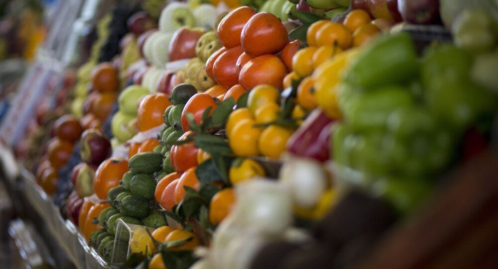Vegetables are displayed for sale at Dorogomilovsky food market in Moscow, Russia, Friday, Nov. 27, 2015
