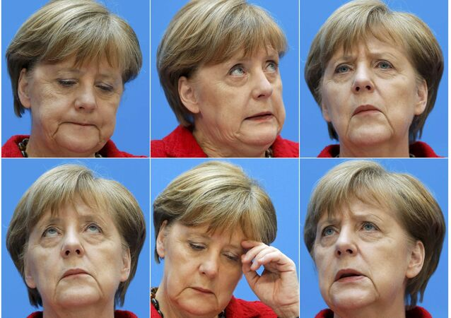 A combination picture shows German Chancellor and Christian Democratic Union (CDU) leader Angela Merkel.