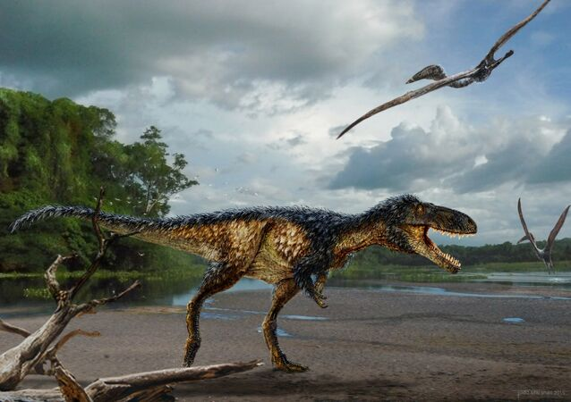 "Life reconstruction of the new tyrannosaur ""Timurlengia euotica"" in its environment 90 million years ago."