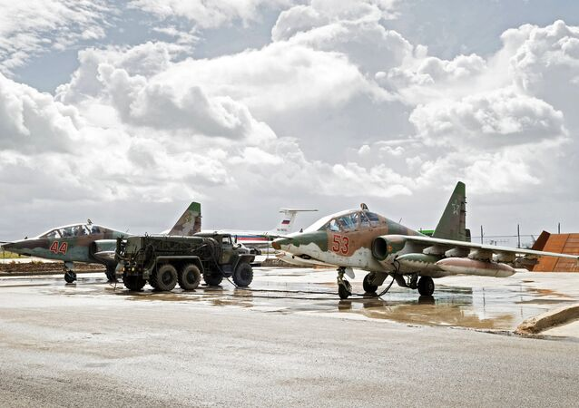 Sukhoi Su-25 ground-attack planes of the Russian Aerospace Forces prepare to depart from the Hmeimim airbase in Syria for their permanent location in Russia