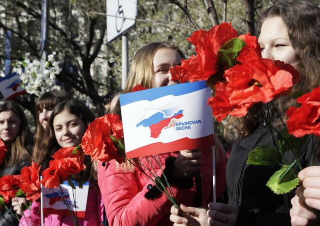 Celebration in Simferopol, Crimea of the second anniversary of the referendum to rejoin Russia.