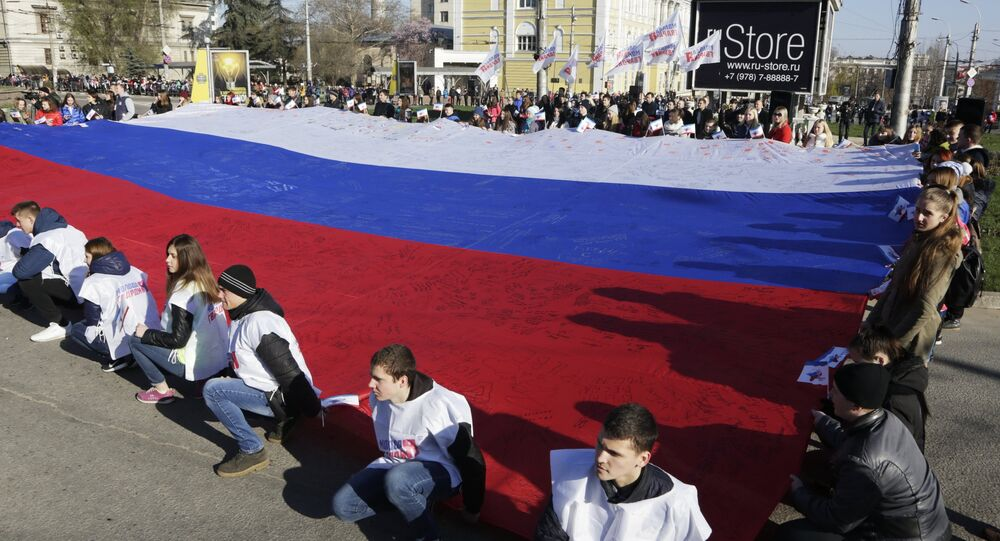 Scene from official celebrations organized in Simferopol marking the second anniversary of the referendum to determine Crimea's fate.
