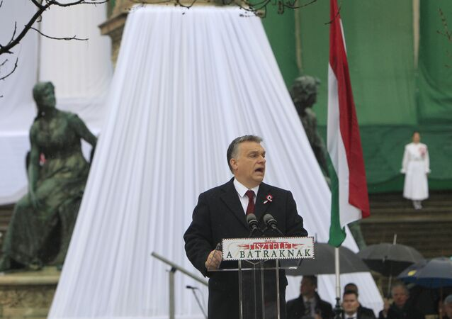 Hungarian Prime Minister Viktor Orban speaks during the Hungary's National Day celebrations, which also commemorates the 1848 Hungarian Revolution against the Habsburg monarchy, in Budapest, Hungary, March 15, 2016.