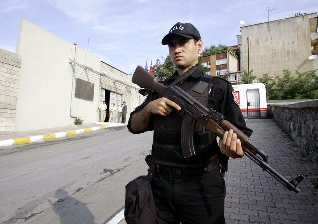 Turkish police stands guard outside of Bilgi University in Istanbul, Turkey (File)