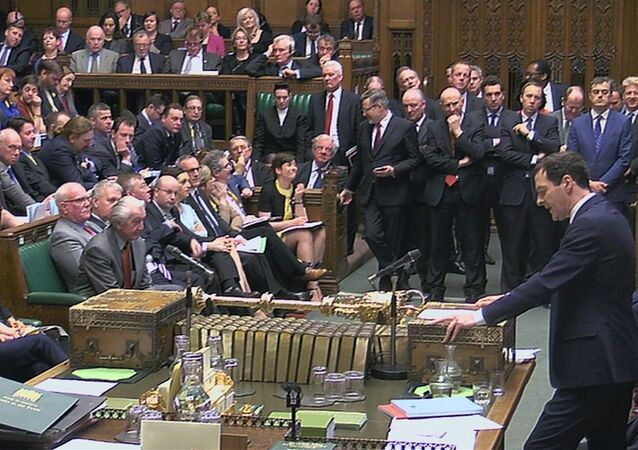 A still image taken from video shows Britain's Chancellor of the Exchequer George Osborne, presenting his Budget to the House of Commons, in central London, Britain March 16, 2016