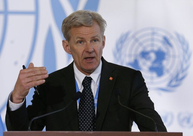Special advisor to the United Nations Special Envoy for Syria Jan Egeland addresses a news conference after a meeting of the Task Force for Humanitarian Access at the UN in Geneva, Switzerland, March 17, 2016.