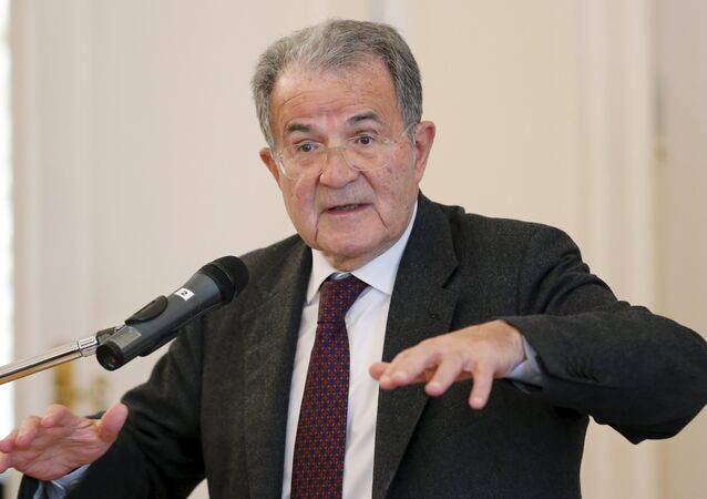 Former Italian Prime Minister Romano Prodi delivers a lecture at the Russian Foreign Ministry's Reception House in Moscow, Russia, March 17, 2016.
