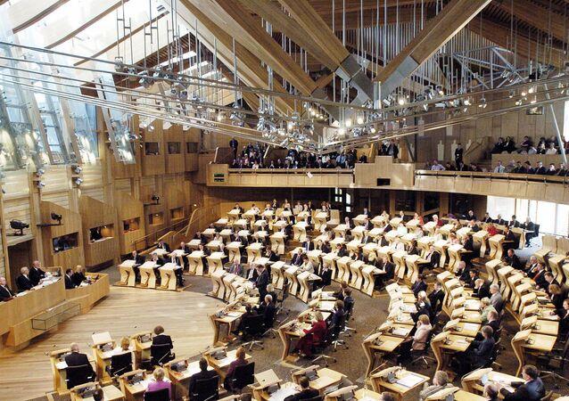 Scottish lawmakers at the new Scottish Parliament building, in Edinburgh. (File)