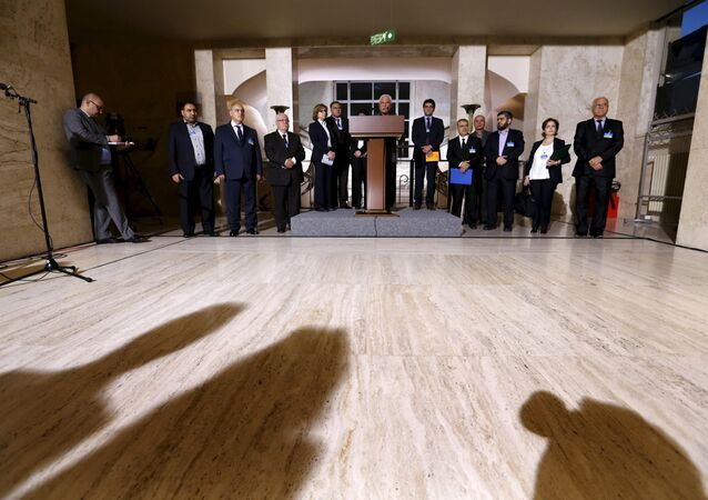 The delegation of the High Negotiations Committee (HNC) attends a news conference after a meeting during Syria peace talks at the United Nations in Geneva, Switzerland