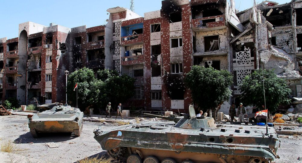 Syrian soldiers recapture the Damascus suburb of Adra, Syria (file photo)