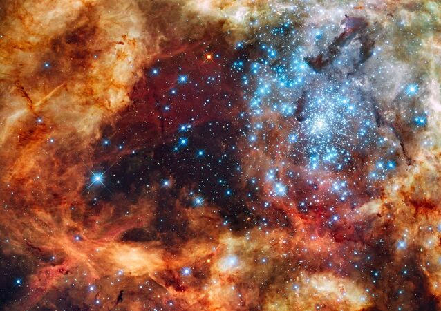 A young stellar grouping, called R136, is only a few million years old and resides in the 30 Doradus Nebula.