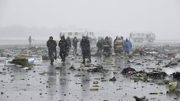 Investigators, members of Russia's Emergencies Ministry and other services work at the crash site of a Boeing 737-800 operated by Dubai-based budget carrier Flydubai, at the airport of Rostov-On-Don, Russia, March 19, 2016. - Sputnik International