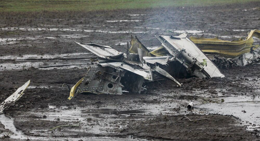Wreckage of the crashed Boeing 737-800 Flight FZ981 operated by Dubai-based budget carrier Flydubai, is seen at the airport of Rostov-On-Don, Russia