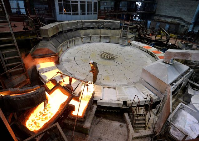 Anode copper casting at Kyshtym electrolytic copper plant in Chelyabinsk region, Russia. The main production is blister fire refining