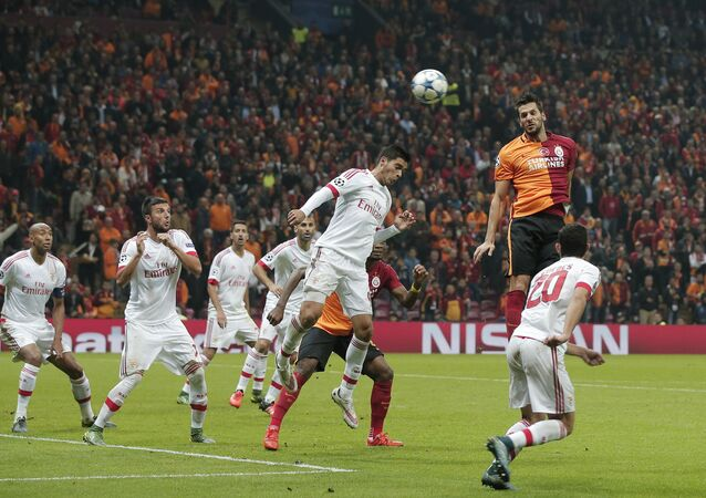 Galatasaray's Hakan Balta, second right, jumps for a hi ball with Benfica's Raul Jimenez during the Champions League Group C soccer match between Galatasaray and Benfica at Turk Telekom Arena Stadium in Istanbul, Turkey. (File)