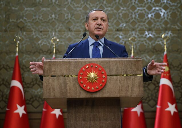 Turkish President Recep Tayyip Erdogan addresses a meeting of local administrators at his palace in Ankara, Turkey, Wednesday, March 16, 2016. Tayyip Erdogan says US and Russian weapons are ending up in the hands of the Kurdistan workers' Party, or PKK, which his country considers a terrorist organization