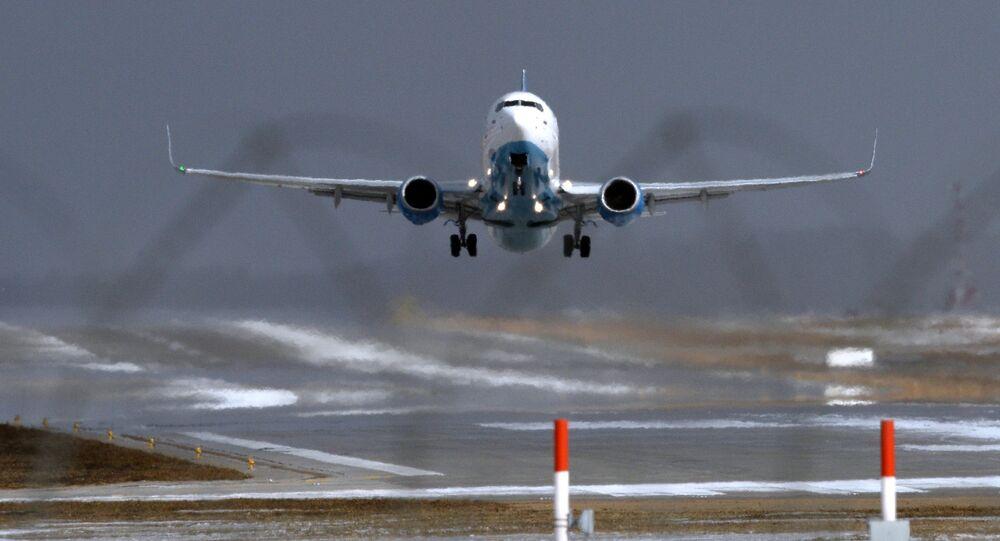 FlyDubai's Boeing 737-800 lands at Vnukovo Airport