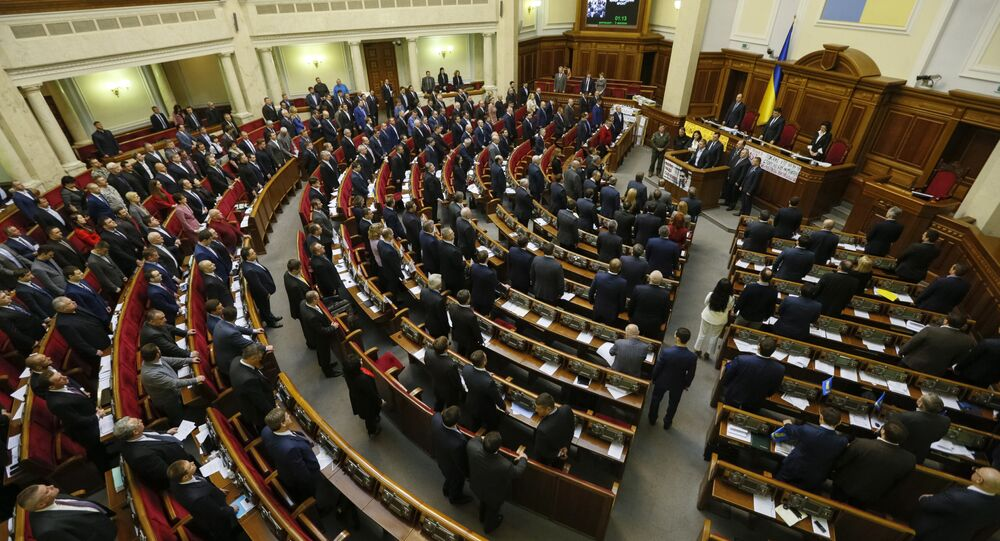 Ukrainian deputies attend a parliament session in Kiev, Ukraine