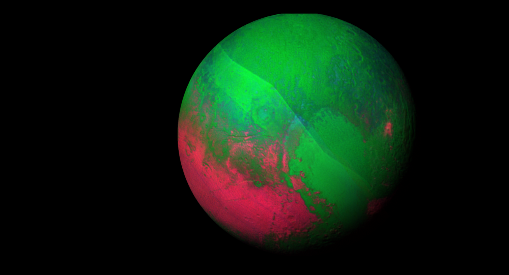 Image of Pluto decked out in red and green using a pair of Ralph/LEISA instrument scans.