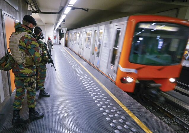 Belgian soldiers patrol in a subway station in Brussels, Belgium (File)