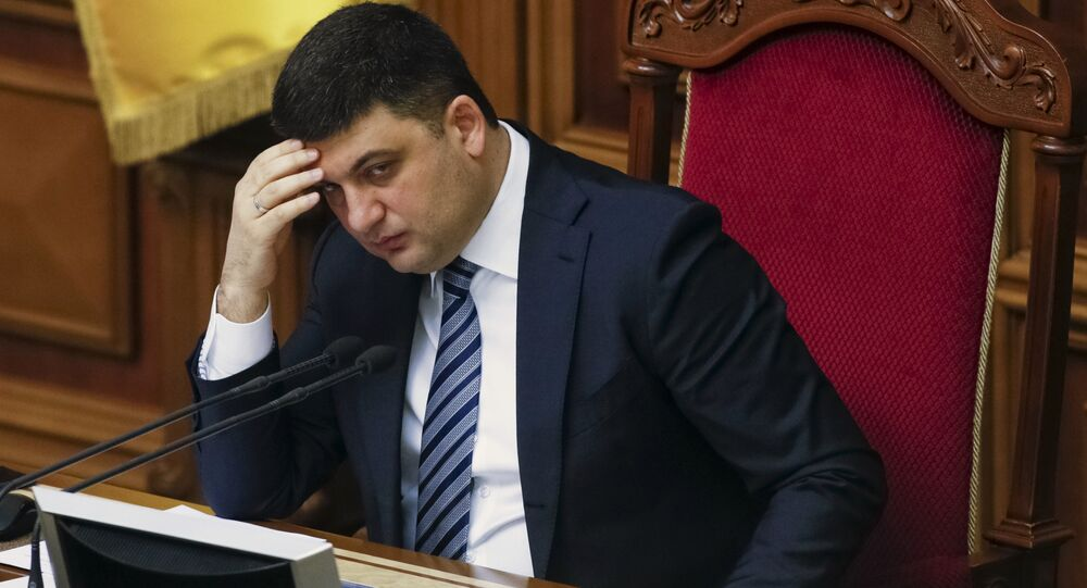 Ukrainian Parliament Speaker Volodymyr Groysman attends a parliament session in Kiev, Ukraine, March 15, 2016