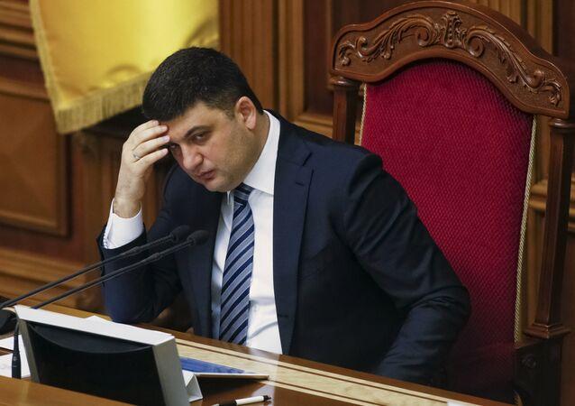 Ukrainian Parliament Speaker Volodymyr Groysman attends a parliament session in Kiev, Ukraine, March 15, 2016