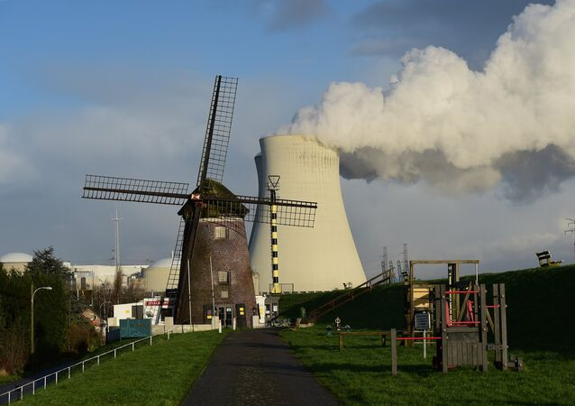 This photo taken on January 12, 2016 shows the cooling towers of Belgium's Doel nuclear plant belching thick white steam