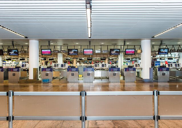 The empty airport departure hall in Zaventem (File)