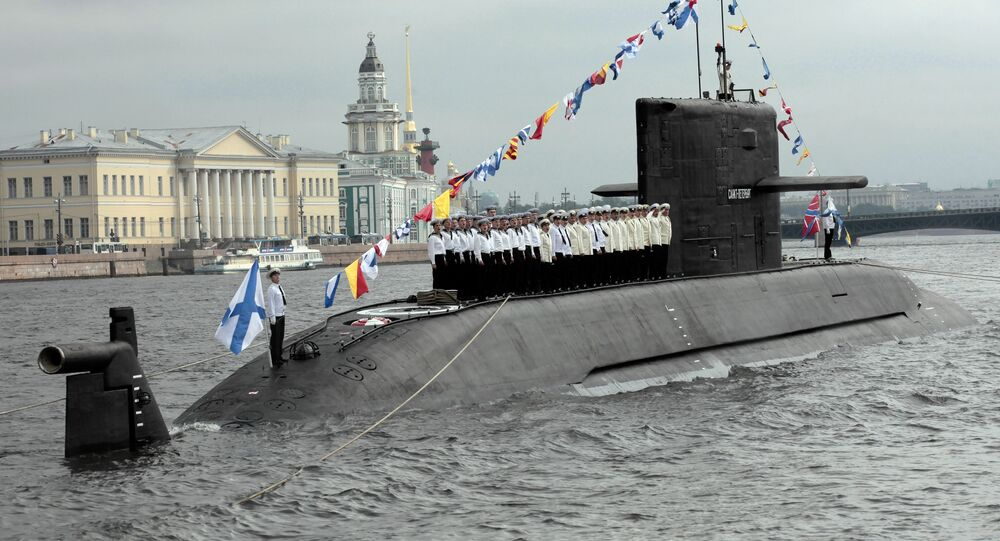 Rehearsal for military parade marking Navy Day, St. Petersburg
