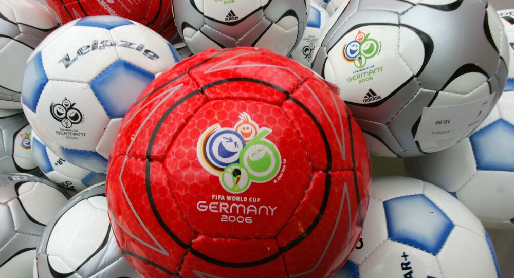 Soccer balls bearing the 2006 World Cup logo are seen in the sponsors area of the Exhibition Halls in Leipzig, Germany Thursday Dec. 8, 2005