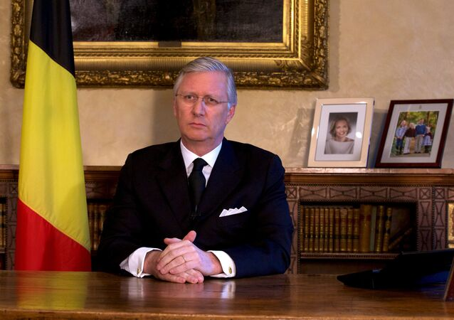 Belgian King Philippe delivers a speech from Brussels Royal Palace following bomb attacks in Brussels and Belgium's National airport of Zaventem , Belgium March 22, 2016