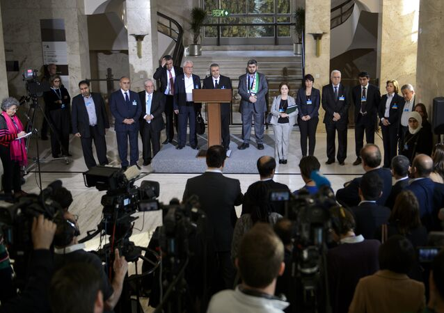 High Negotiations Committee (HNC) members take part in a press briefing on March 22, 2016 in Geneva following a meeting of the HCN with UN Syria envoy during Syria peace talks at the United Nations in Geneva