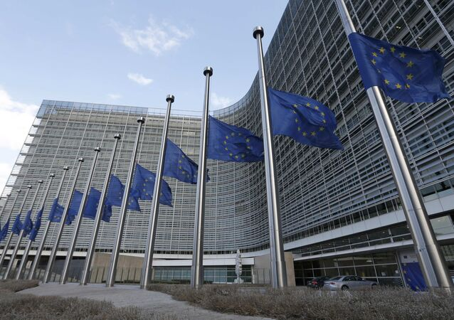European flags fly at half-mast in front of the European Commission headquarters in tribute to victims from the morning explosions in Brussels, Belgium, March 22, 2016