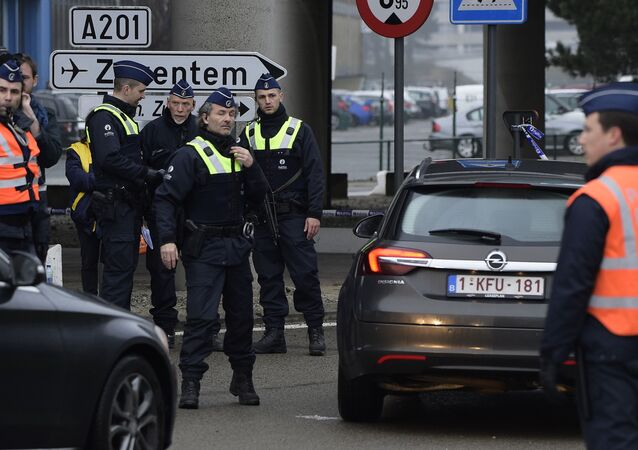Policemen control motorists near Brussels airport in Zaventem on March 23, 2016
