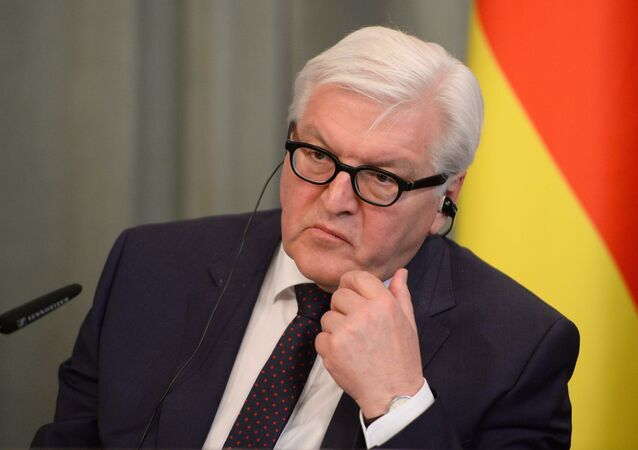 German Foreign Minister Frank-Walter Steinmeier at a joint news conference with Russian Foreign Minister Sergey Lavrov in Moscow