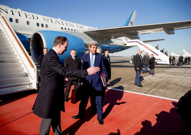 Secretary of State John Kerry arrives at Vnukovo International Airport in Moscow, Russia, Wednesday, March 23, 2016
