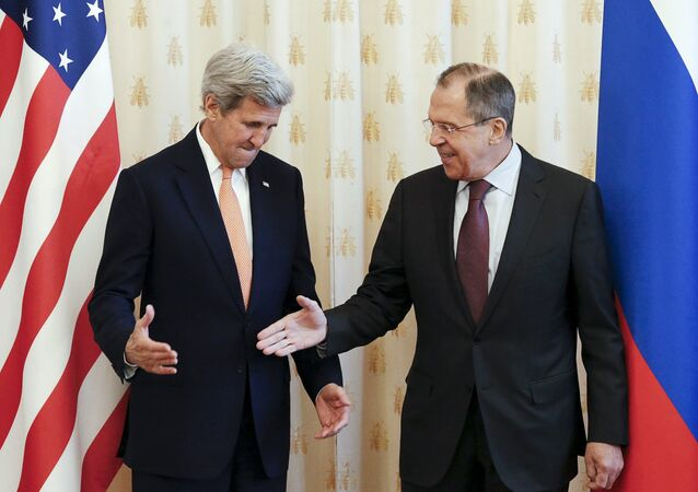 Russian Foreign Minister Sergei Lavrov (R) shakes hands with U.S. Secretary of State John Kerry during a meeting in Moscow, Russia, March 24, 2016