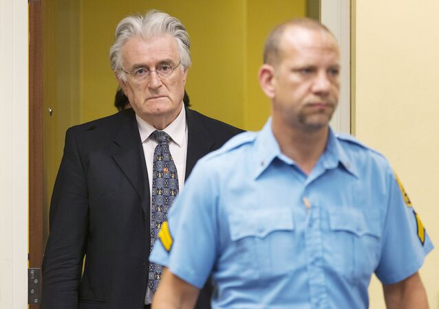 This file photo taken on July 11, 2013 shows Bosnian Serb wartime leader Radovan Karadzic appearing in the courtroom for his appeal judgement at the International Criminal Tribunal for Former Yugoslavia (ICTY) in The Hague, The Netherlands