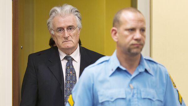 This file photo taken on July 11, 2013 shows Bosnian Serb wartime leader Radovan Karadzic appearing in the courtroom for his appeal judgement at the International Criminal Tribunal for Former Yugoslavia (ICTY) in The Hague, The Netherlands - Sputnik International