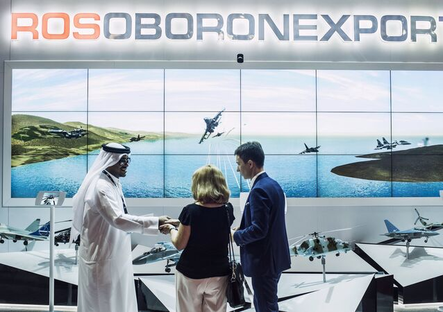 The Rosoboronexport stand at the 2015 Dubai Airshow international exhibition