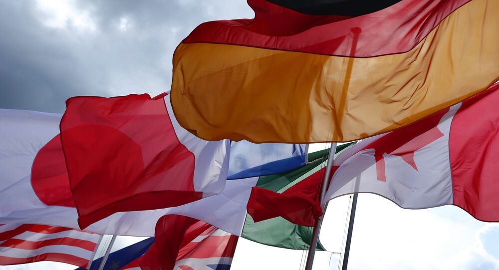 The flags of the G7 countries. File photo
