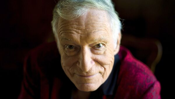 In this Oct. 13, 2011 photo, American magazine publisher, founder and Chief Creative Officer of Playboy Enterprises, Hugh Hefner at his home at the Playboy Mansion in Beverly Hills, Calif. - Sputnik International