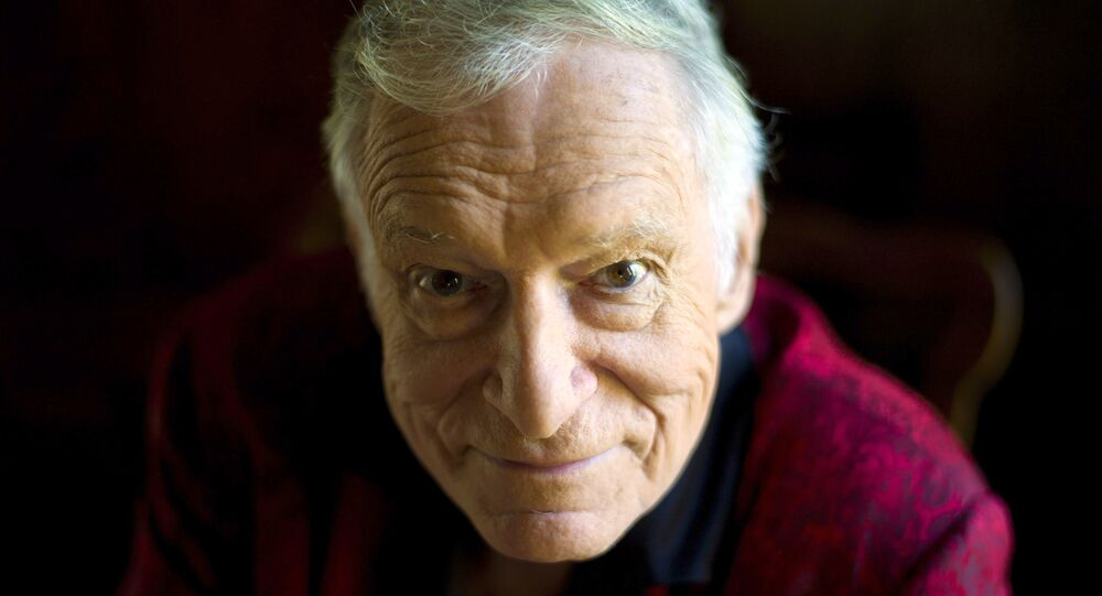 In this Oct. 13, 2011 photo, American magazine publisher, founder and Chief Creative Officer of Playboy Enterprises, Hugh Hefner at his home at the Playboy Mansion in Beverly Hills, Calif.