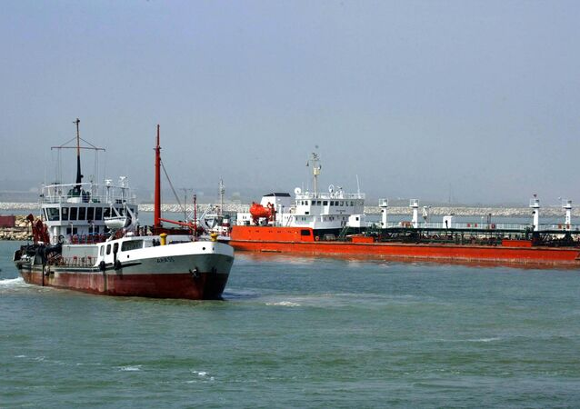 An Iranian oil tanker is seen floating on the Caspian Sea