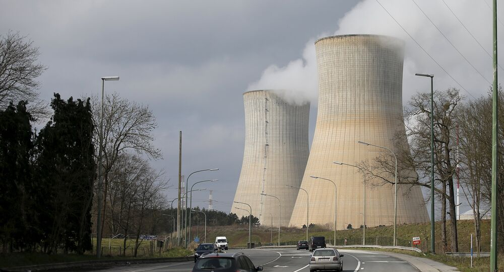 Steam escapes from the cooling tower of the Tihange nuclear power station, one of the two large-scale nuclear power plants in Belgium, March 26, 2016.