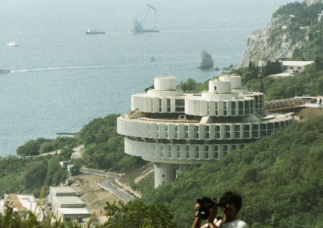 The Druzhba holiday hotel built by Soviet and Czech specialists on the southern coast of the Crimea.