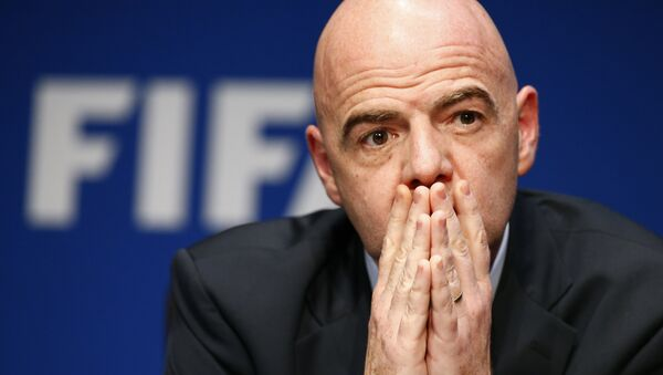 FIFA President Gianni Infantino attends a news conference after the executive committee meeting at the FIFA headquarters in Zurich, Switzerland March 18, 2016. - Sputnik International