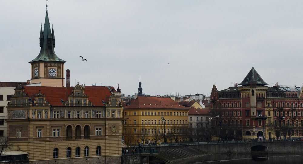 View of the Smetana Embankment from the Charles Bridge in Prague. (File)
