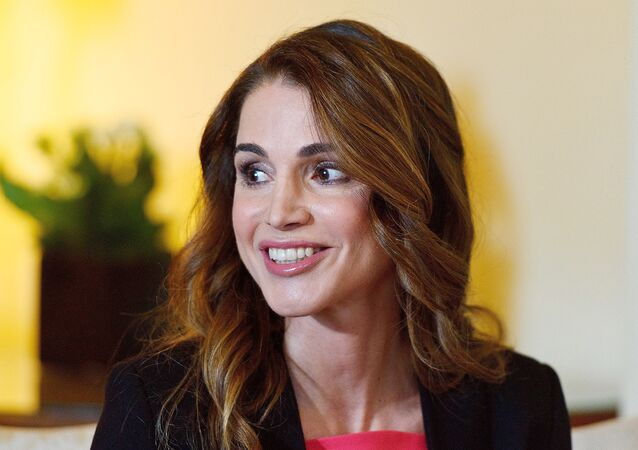 Queen Rania of Jordan, smiles during her meeting with British Prime Minister David Cameron at Number 10 Downing Street, London, England, Friday, Jan. 8, 2016.